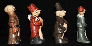 Country Craft Potteries Figures from Tremar Pottery People Molds: Carpenter, Soldier, Chimneysweep, Fisherman – Right Side View