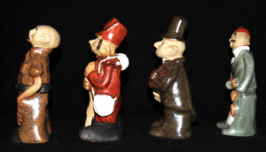 Country Craft Potteries Figures from Tremar Pottery People Molds: Carpenter, Soldier, Chimneysweep, Fisherman – Left Side View