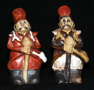 Country Craft Potteries Soldier on the left. Tremar Pottery People Solder on the right.