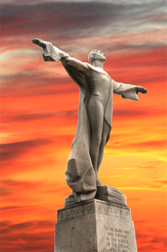 Women's Titanic Memorial – Washington DC – With Colorful Evening Sky